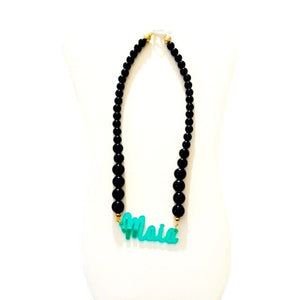 Noir Black & Emerald Name Necklace