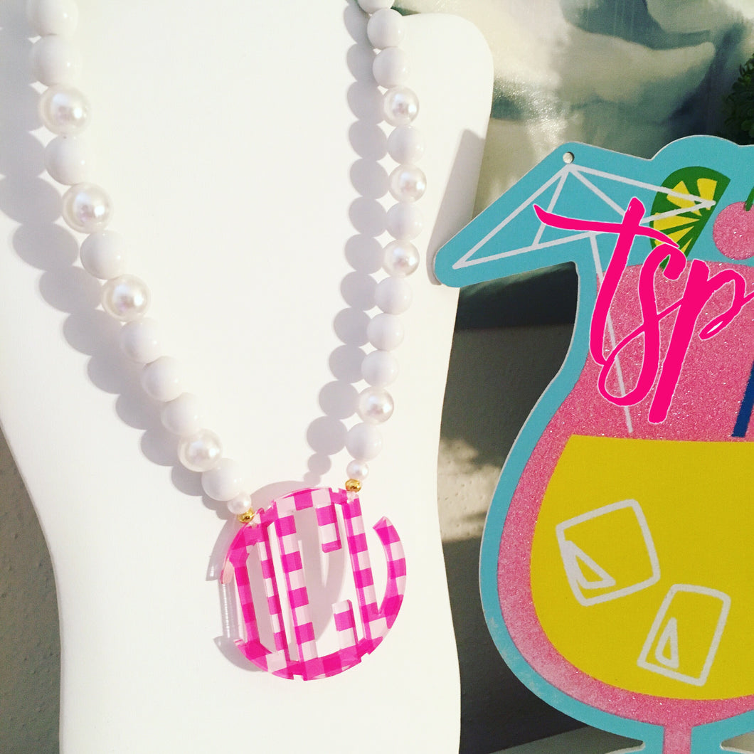 Hot Pink Gingham Block Monogram Necklace 2.5
