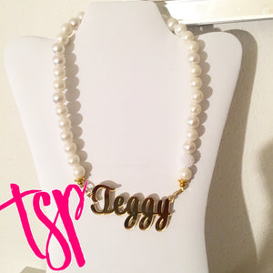 tanya-sopretty - A Gold & Pearl Custom Name Necklace - Necklace