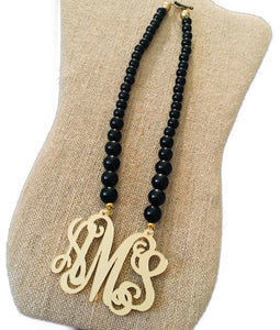 "tanya-sopretty - Black & Gold Monogram Necklace 2.5"" - Necklace"
