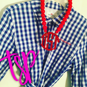 "tanya-sopretty - Red Sparkle Monogram Necklace 3"" - Necklace"