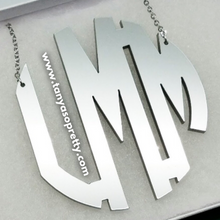 Load image into Gallery viewer, Kammy Silver Mirror Monogram Necklace