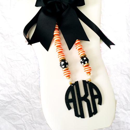 "tanya-sopretty - Preppy Halloween Block Monogram Necklace 3"" - Necklace"