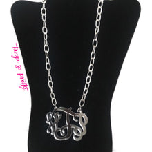 "Load image into Gallery viewer, tanya-sopretty - Ack Silver Chain Link Monogram Necklace 3"" - Necklace"