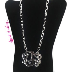 Avery Silver Chain Link Monogram Necklace 3""