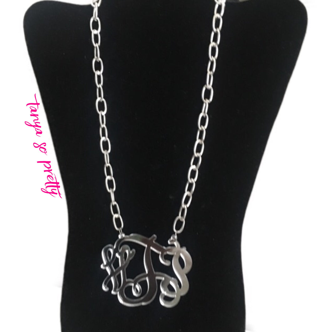 "tanya-sopretty - Ack Silver Chain Link Monogram Necklace 3"" - Necklace"