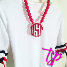 "Load image into Gallery viewer, tanya-sopretty - Red Sparkle Monogram Necklace 3"" - Necklace"