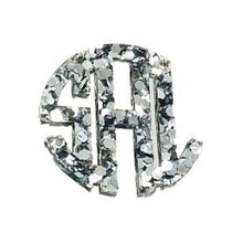 Load image into Gallery viewer, Kammy Silver Sparkle Monogram Necklace 3""