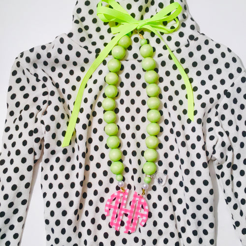 tanya-sopretty - Grosgrain Neon Lime Gingham Block Monogram Necklace 2.5