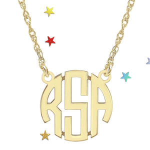 tanya-sopretty - Gold Custom Block Monogram Necklace - Necklace