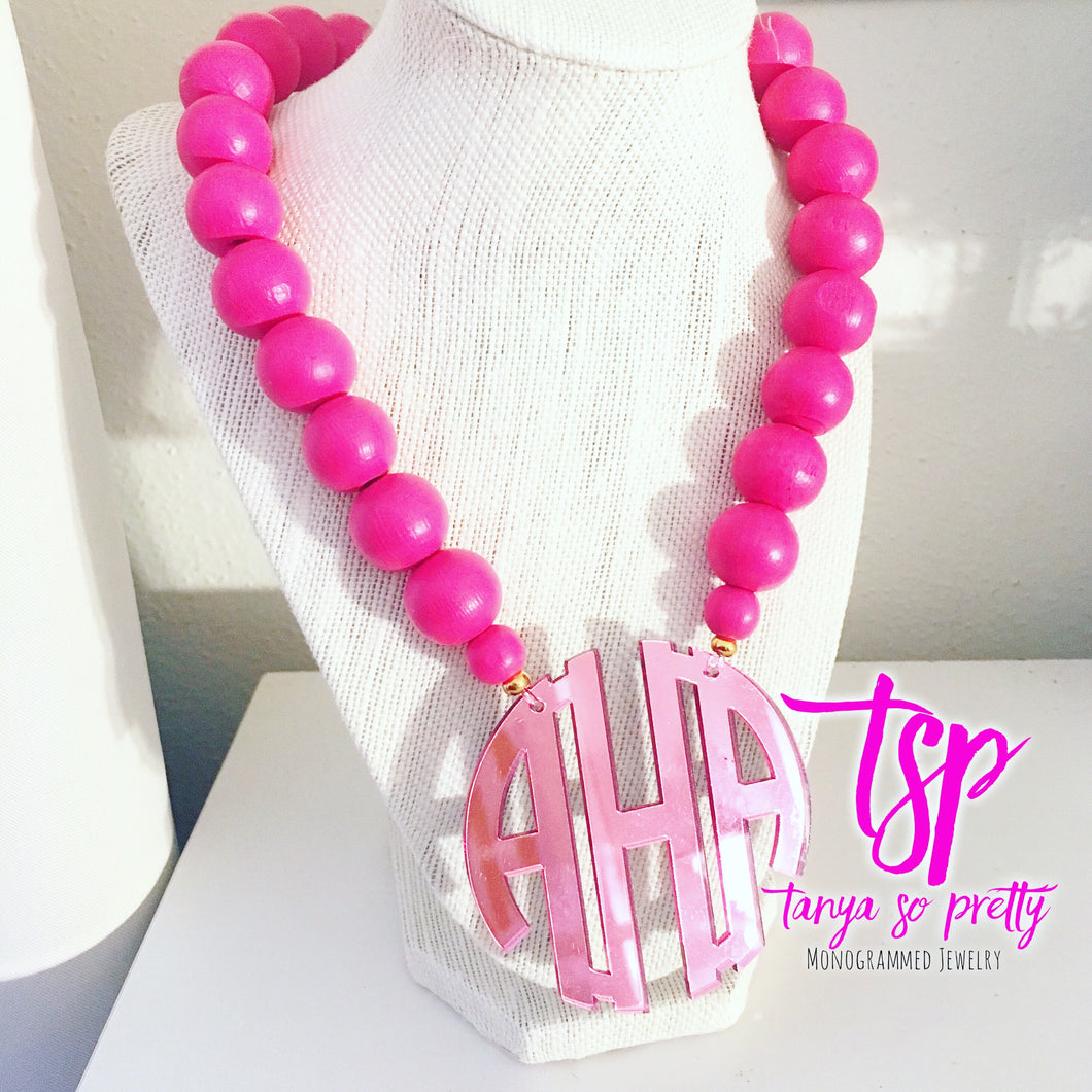 "tanya-sopretty - Pink on Pink Block Monogram Necklace 2.5"" - Necklace"
