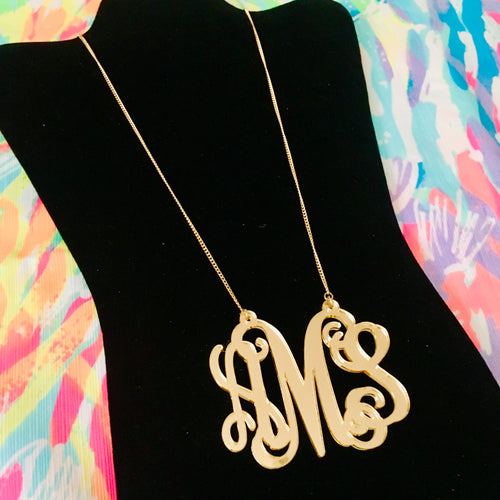 "tanya-sopretty - Avery Gold Monogram Necklace 3"" - Necklace"