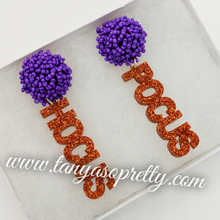 Load image into Gallery viewer, Pom Pom Spirit Earrings Orange Purple