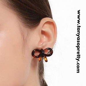 Gretchen Bow Tortoiseshell Earrings