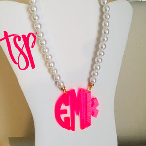 "tanya-sopretty - Neon Coral Block Monogram Necklace 2.5"" - Necklace"