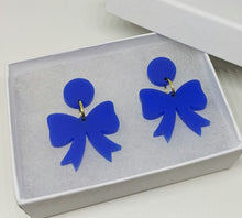 Load image into Gallery viewer, Grier Bow Earrings Royal Blue