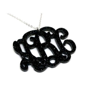 Leigh Black Glitter Monogram Necklace