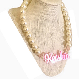 Pink Amber Pearl Name Necklace