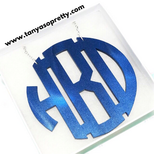 Aly Navy Pearlized Monogram Necklace