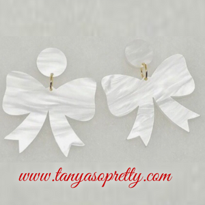 Grier Bow Earrings White