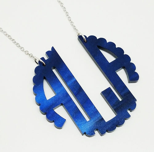 Abbey Navy Pearlized Scallop Monogram Necklace