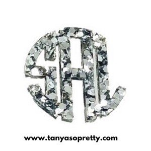 Kammy Silver Sparkle Monogram Necklace 3""