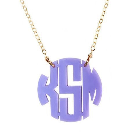 Kammy Lavender Block Monogram Necklace