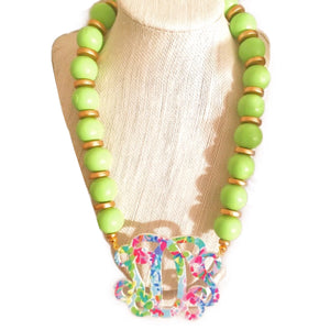 Lime Garden Monogram Necklace