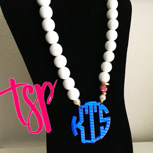 "tanya-sopretty - Royal Blue & Ivory Block Monogram Necklace 2.5"" - Necklace"