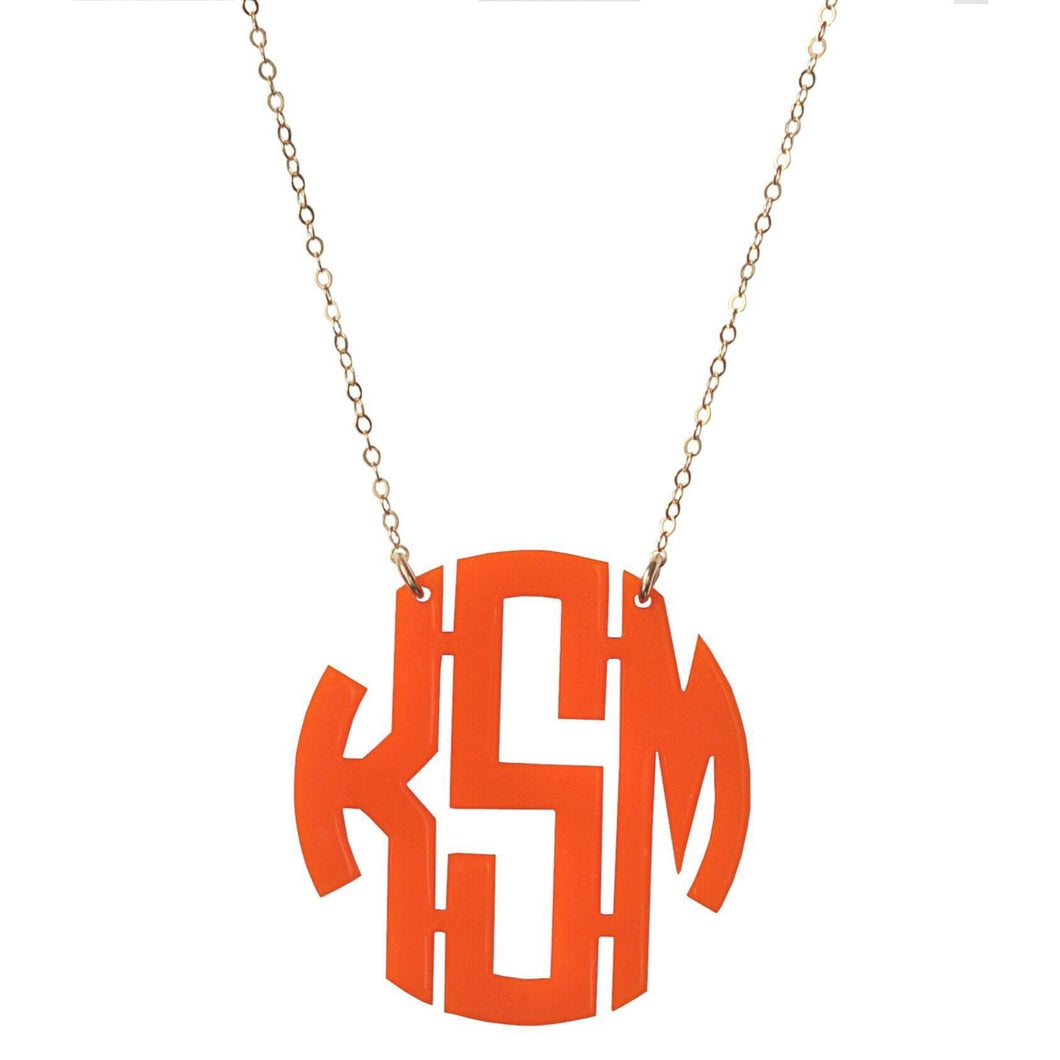 Orange Acrylic Monogram Necklace