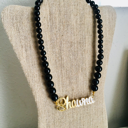tanya-sopretty - Black & Gold Name Necklace - Necklace