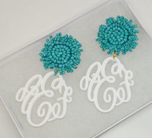 Load image into Gallery viewer, Pom Pom Monogram Earrings