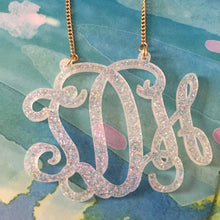 "Load image into Gallery viewer, tanya-sopretty - Avery Snow Sparkle Monogram Necklace 3"" - Necklace"