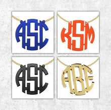 Load image into Gallery viewer, Aly Orange Acrylic Monogram Necklace