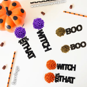 Pom Pom Spirit Earrings Orange Purple