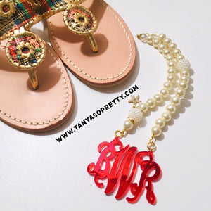 Amber Pearl Red Monogram Necklace