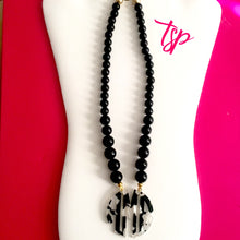 "Load image into Gallery viewer, tanya-sopretty - Black & Ivory Tortoiseshell Monogram Necklace 2.5"" - Necklace"