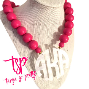 Pink & White Block Monogram Necklace 2.5""