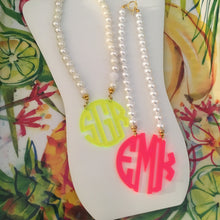 "Load image into Gallery viewer, tanya-sopretty - Neon Yellow Block Monogram Necklace 3"" - Necklace"