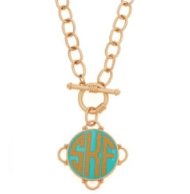 Madeleine Gold on Aqua Monogram Necklace