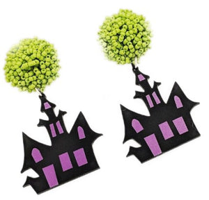 Pom Pom Halloween Acrylic Earrings