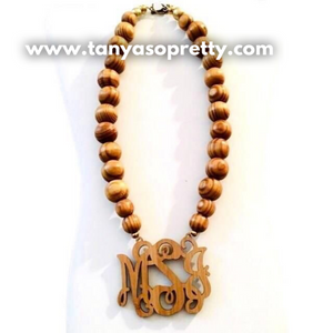 "Bamboo 2.5"" Block Monogram Necklace"