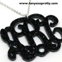 Load image into Gallery viewer, Leigh Black Glitter Monogram Necklace