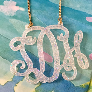 "tanya-sopretty - Avery Snow Sparkle Monogram Necklace 3"" - Necklace"