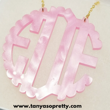 Load image into Gallery viewer, Abbey Pink Pearlized Scallop Monogram Necklace