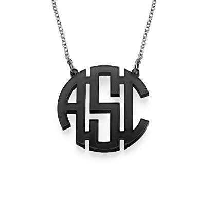 tanya-sopretty - Black Mirror Block Monogram Necklaceu - Necklace