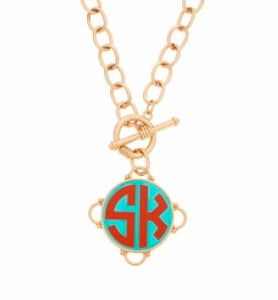 tanya-sopretty - Madeleine Red on Aqua Monogram Necklace - Necklace
