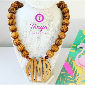 "tanya-sopretty - Bamboo 2.5"" Block Monogram Necklace - Necklace"