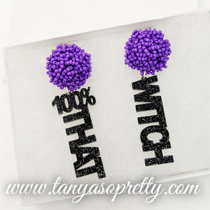 Pom Pom Spirit Earrings Purple Black