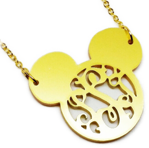 Mouse Ears Block Monogram Necklace